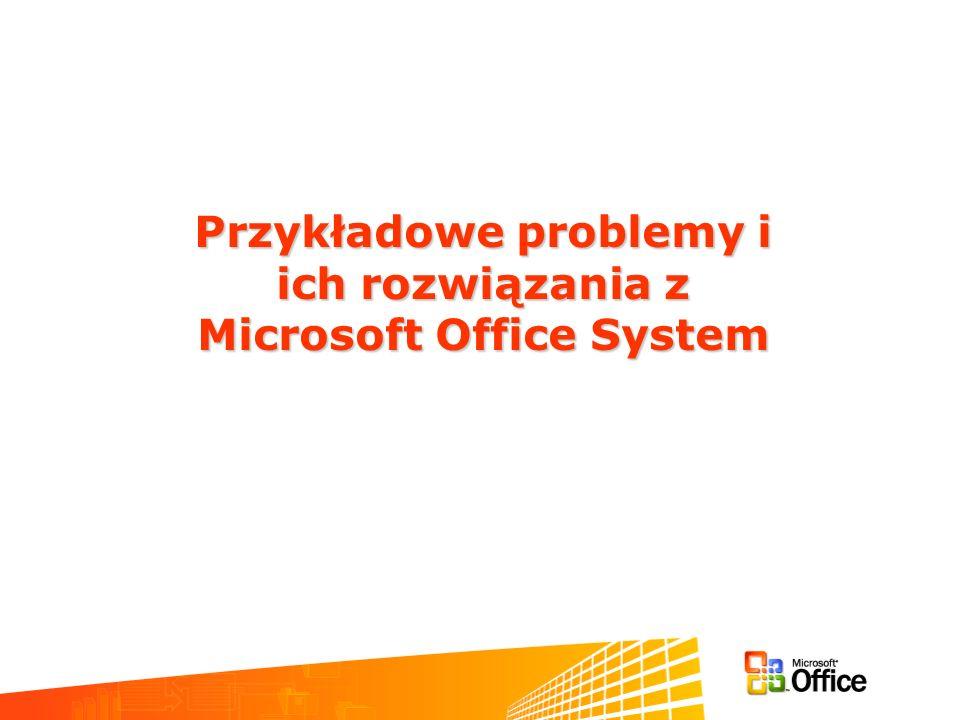 Przykładowe problemy i ich rozwiązania z ich rozwiązania z Microsoft Office System