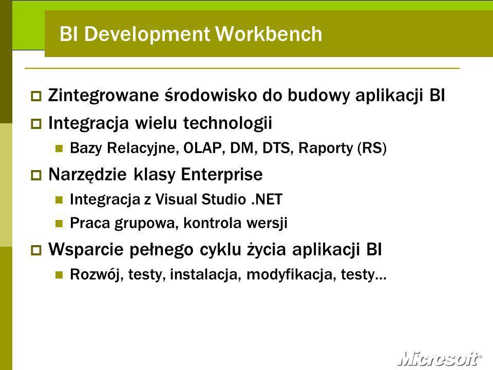 BI Development Workbench Zintegrowane środowisko do budowy aplikacji BI Integracja wielu technologii Bazy Relacyjne, OLAP, DM, DTS, Raporty (RS) Narzędzie klasy Enterprise Integracja z Visual Studio.NET Praca grupowa, kontrola wersji Wsparcie pełnego cyklu życia aplikacji BI Rozwój, testy, instalacja, modyfikacja, testy…