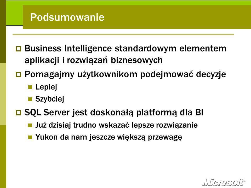 Podsumowanie Business Intelligence standardowym elementem aplikacji i rozwiązań biznesowych Pomagajmy użytkownikom podejmować decyzje Lepiej Szybciej