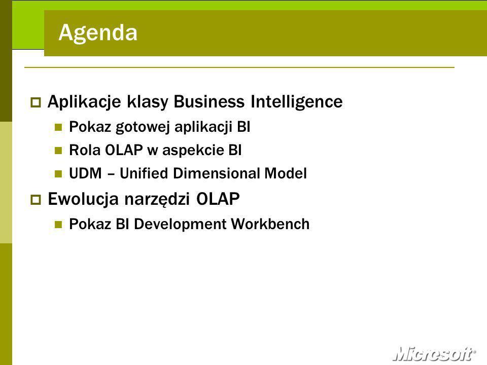 Agenda Aplikacje klasy Business Intelligence Pokaz gotowej aplikacji BI Rola OLAP w aspekcie BI UDM – Unified Dimensional Model Ewolucja narzędzi OLAP Pokaz BI Development Workbench