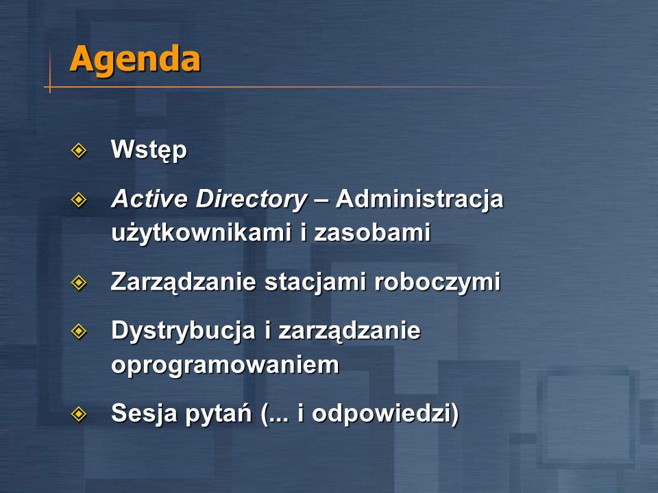 Agenda Wstęp Wstęp Active Directory – Administracja użytkownikami i zasobami Active Directory – Administracja użytkownikami i zasobami Zarządzanie stacjami roboczymi Zarządzanie stacjami roboczymi Dystrybucja i zarządzanie oprogramowaniem Dystrybucja i zarządzanie oprogramowaniem Sesja pytań (...