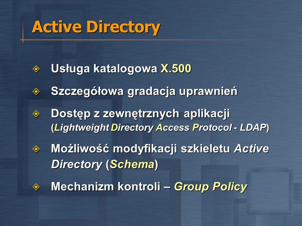 Active Directory Usługa katalogowa X.500 Usługa katalogowa X.500 Szczegółowa gradacja uprawnień Szczegółowa gradacja uprawnień Dostęp z zewnętrznych aplikacji (Lightweight Directory Access Protocol - LDAP) Dostęp z zewnętrznych aplikacji (Lightweight Directory Access Protocol - LDAP) Możliwość modyfikacji szkieletu Active Directory (Schema) Możliwość modyfikacji szkieletu Active Directory (Schema) Mechanizm kontroli – Group Policy Mechanizm kontroli – Group Policy