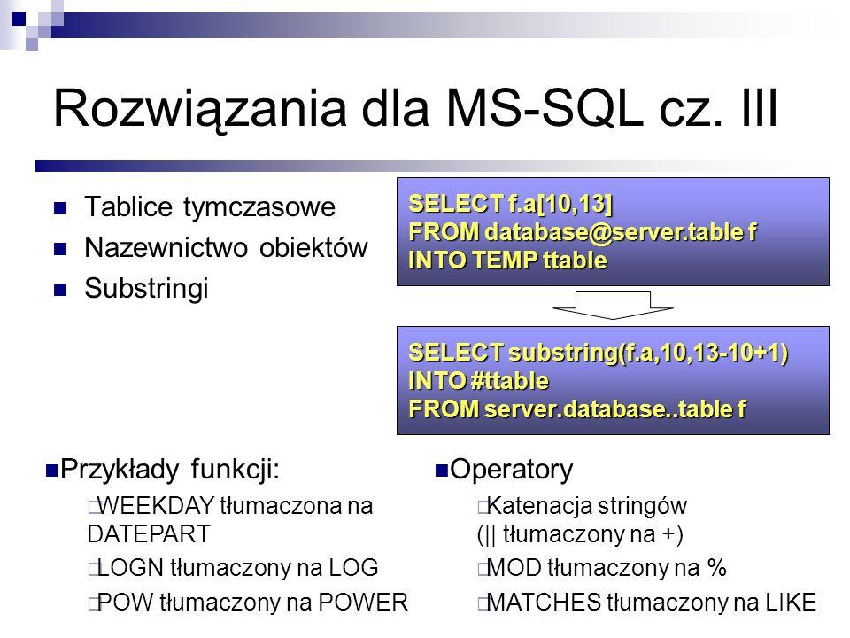 Rozwiązania dla MS-SQL cz. III Tablice tymczasowe Nazewnictwo obiektów Substringi SELECT f.a[10,13] FROM database@server.table f INTO TEMP ttable SELE