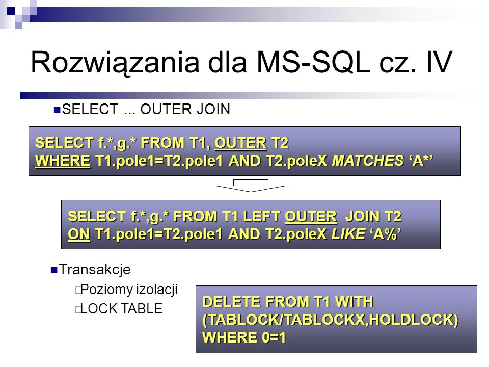 Rozwiązania dla MS-SQL cz. IV SELECT f.*,g.* FROM T1, OUTER T2 WHERE T1.pole1=T2.pole1 AND T2.poleX MATCHES A* Transakcje Poziomy izolacji LOCK TABLE