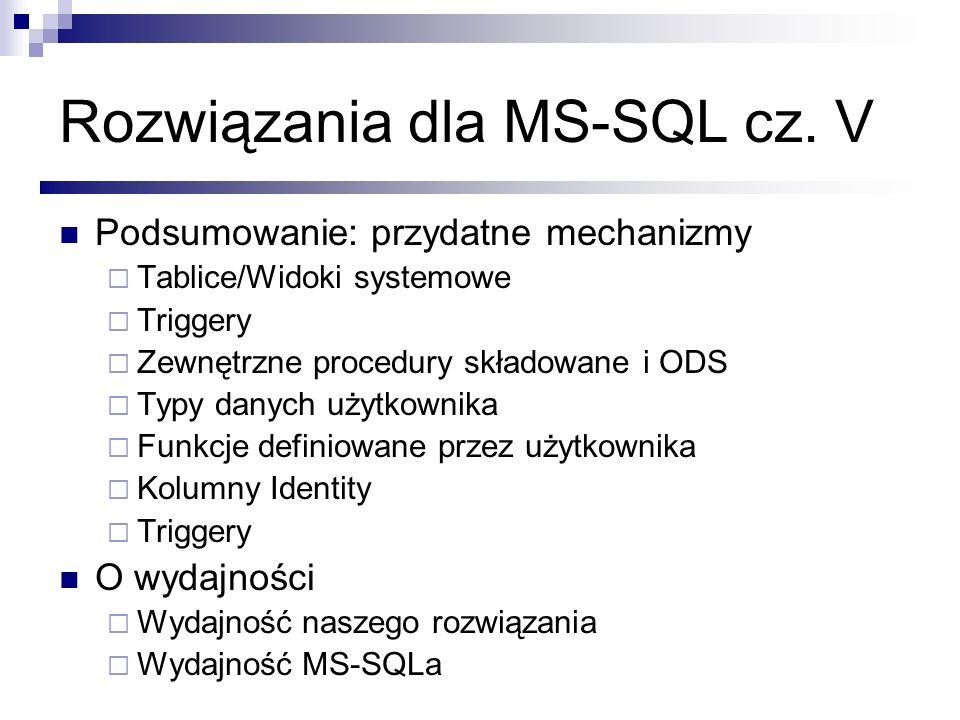 Rozwiązania dla MS-SQL cz. V Podsumowanie: przydatne mechanizmy Tablice/Widoki systemowe Triggery Zewnętrzne procedury składowane i ODS Typy danych uż