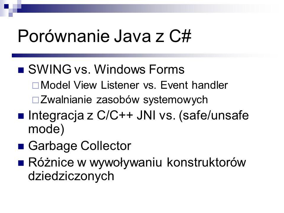 Porównanie Java z C# SWING vs. Windows Forms Model View Listener vs. Event handler Zwalnianie zasobów systemowych Integracja z C/C++ JNI vs. (safe/uns