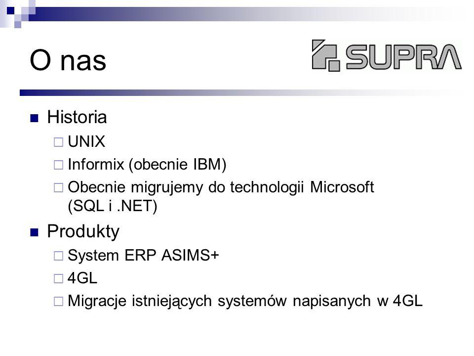 O nas Historia UNIX Informix (obecnie IBM) Obecnie migrujemy do technologii Microsoft (SQL i.NET) Produkty System ERP ASIMS+ 4GL Migracje istniejących