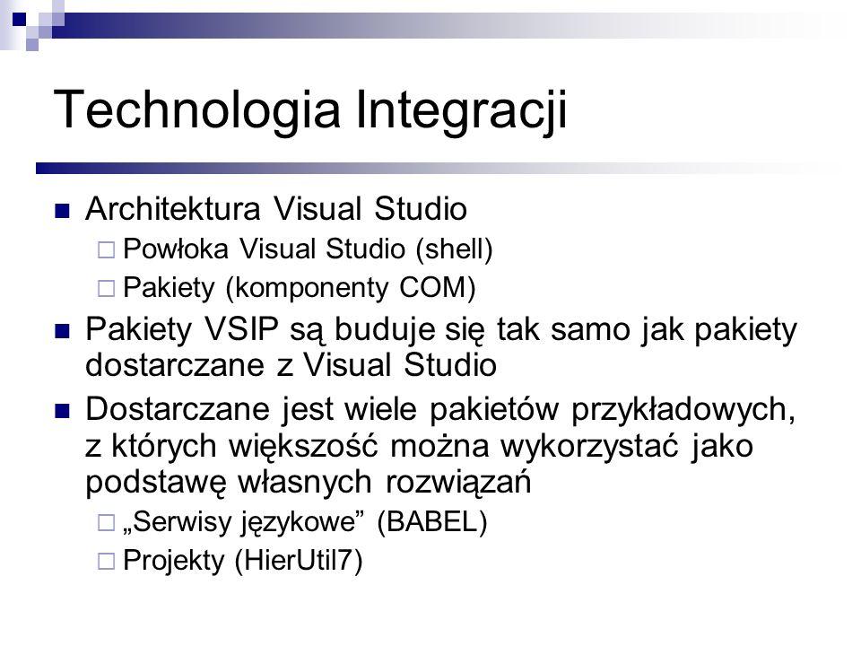 Technologia Integracji Architektura Visual Studio Powłoka Visual Studio (shell) Pakiety (komponenty COM) Pakiety VSIP są buduje się tak samo jak pakie
