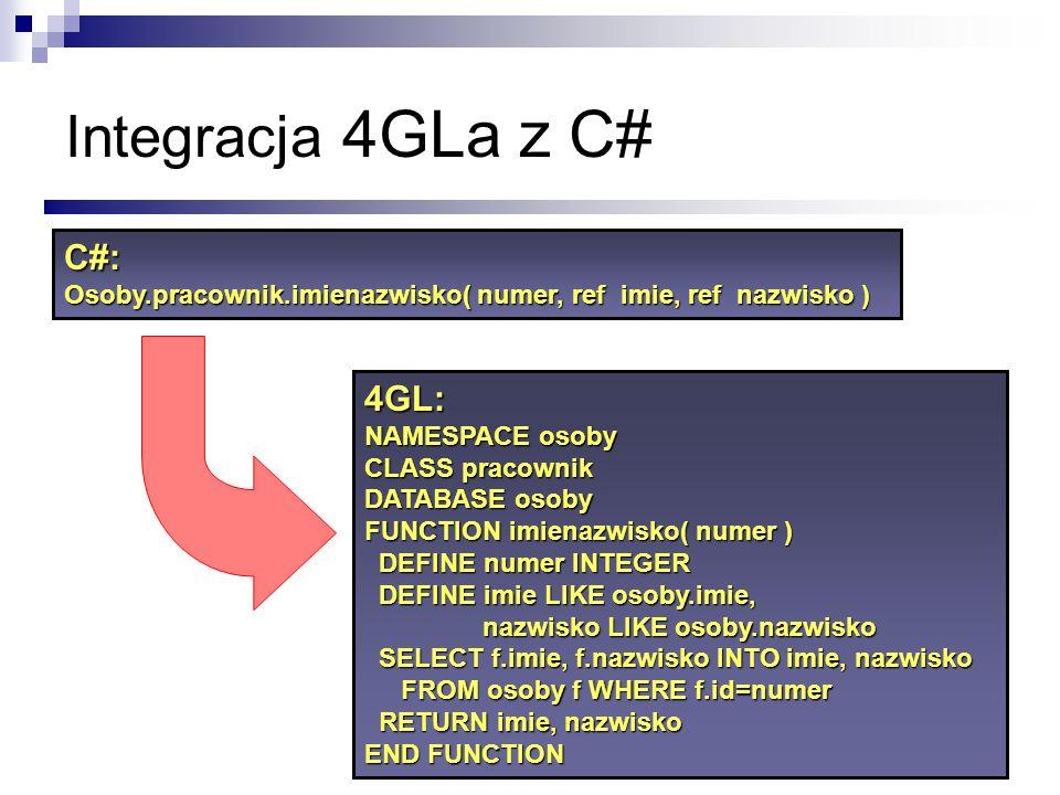 Integracja 4GLa z C# 4GL: NAMESPACE osoby CLASS pracownik DATABASE osoby FUNCTION imienazwisko( numer ) DEFINE numer INTEGER DEFINE numer INTEGER DEFI