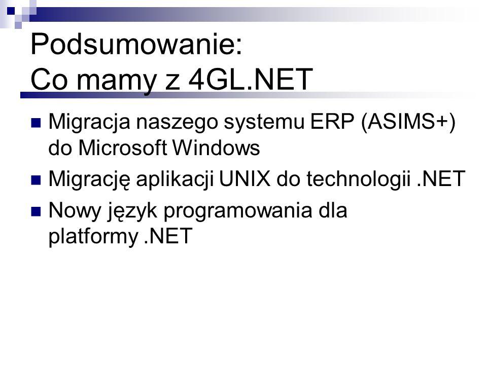 Podsumowanie: Co mamy z 4GL.NET Migracja naszego systemu ERP (ASIMS+) do Microsoft Windows Migrację aplikacji UNIX do technologii.NET Nowy język progr