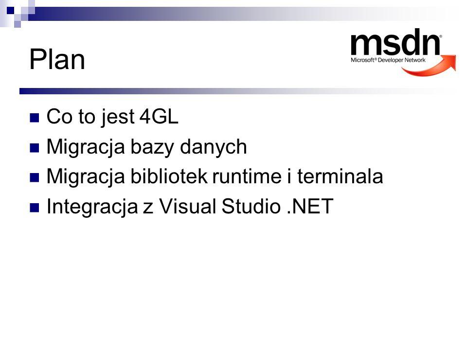 Co to jest Supra-4GL Prosty język zbliżony do naturalnego angielskiego Proceduralny Zorientowany na obsługę baz danych Można go podzielić na cztery części Sterowanie przepływem programu SQL Obsługa interakcji z użytkownikiem Raportowanie
