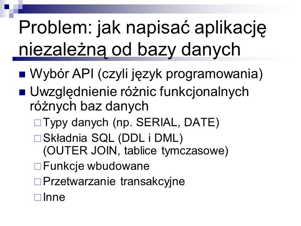 Problem: jak napisać aplikację niezależną od bazy danych Wybór API (czyli język programowania) Uwzględnienie różnic funkcjonalnych różnych baz danych