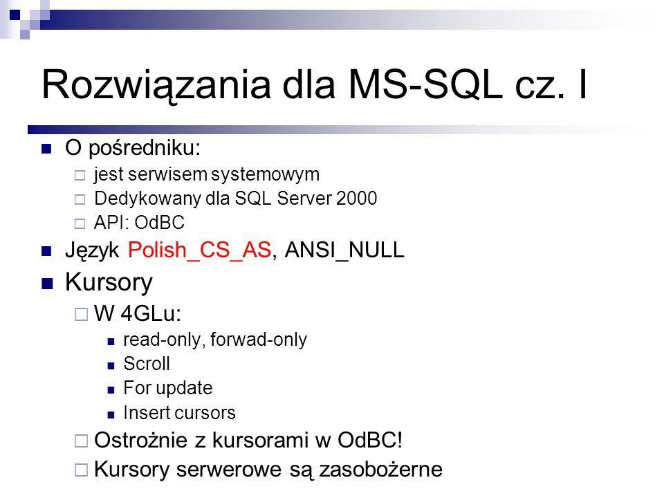 Rozwiązania dla MS-SQL cz. I O pośredniku: jest serwisem systemowym Dedykowany dla SQL Server 2000 API: OdBC Język Polish_CS_AS, ANSI_NULL Kursory W 4