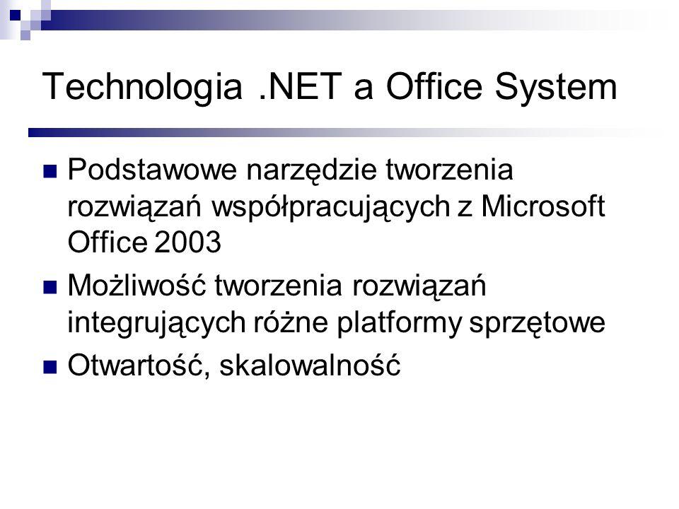 Technologia.NET a Office System Podstawowe narzędzie tworzenia rozwiązań współpracujących z Microsoft Office 2003 Możliwość tworzenia rozwiązań integr