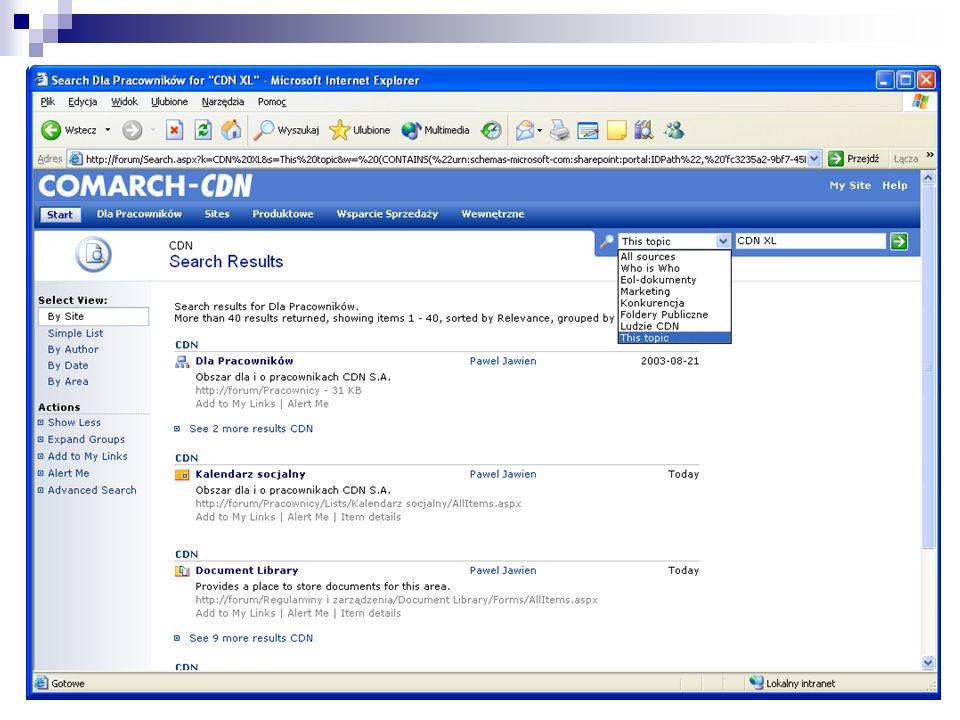 Intranet Praca grupowa Zarządzanie dokumentami Powiązanie z Microsoft Project Server Zaawansowane możliwości wyszukiwania SPS 2003 w COMARCH-CDN