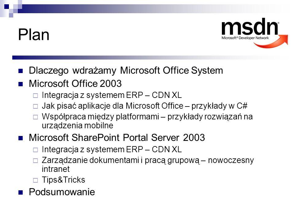 Plan Dlaczego wdrażamy Microsoft Office System Microsoft Office 2003 Integracja z systemem ERP – CDN XL Jak pisać aplikacje dla Microsoft Office – prz