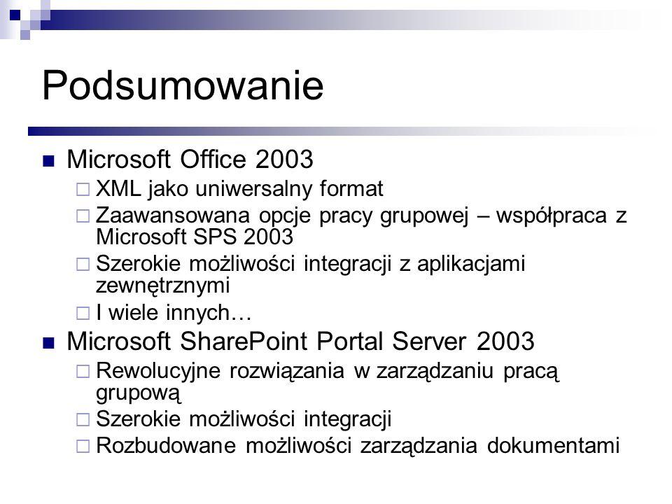 Podsumowanie Microsoft Office 2003 XML jako uniwersalny format Zaawansowana opcje pracy grupowej – współpraca z Microsoft SPS 2003 Szerokie możliwości
