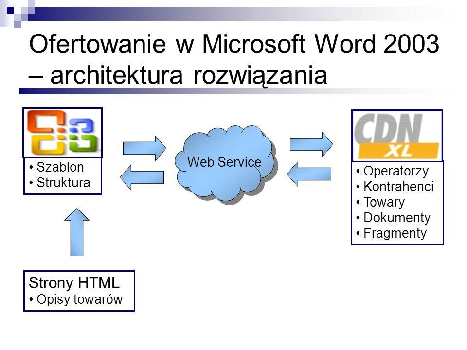 Ofertowanie w Microsoft Word 2003 – architektura rozwiązania Web Service Strony HTML Opisy towarów Operatorzy Kontrahenci Towary Dokumenty Fragmenty S