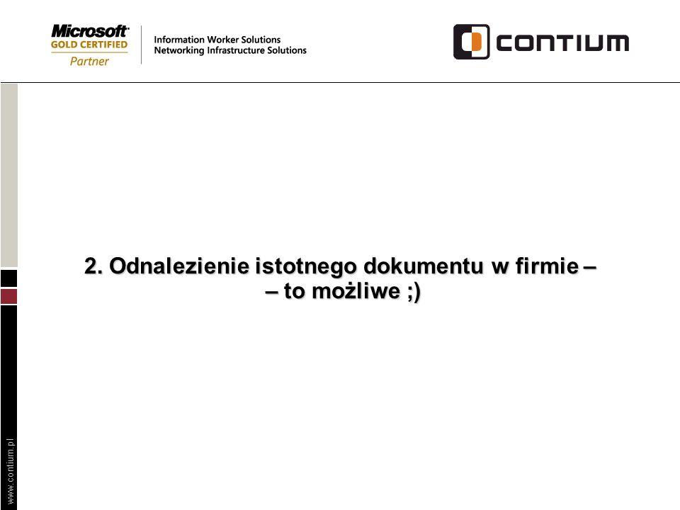 www.contium.pl Poprawa obiegu informacji w spółce użyteczności publicznej