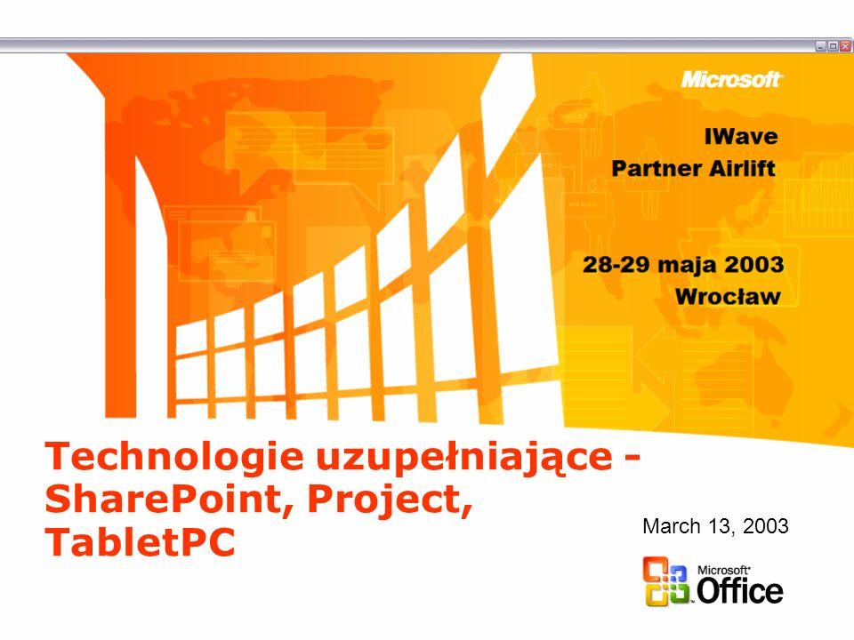 Tablet PC i Office 2003 Tablet PC to doskonała platforma do wykorzystania nowych cech Office 2003 –Rodzime wsparcie dla pisma odręcznego –OneNote Tablet PC umożliwia użycie Office w zupełnie nowy sposób i w nowych miejscach –Moc przetwarzania Pełne wykorzystanie platformy PC i Windows XP –Mobilność Lekkie urządzenia, praca w sieci i bez podłączenia do sieci –Wszechstronność Nowe możliwości wprowadzania danych