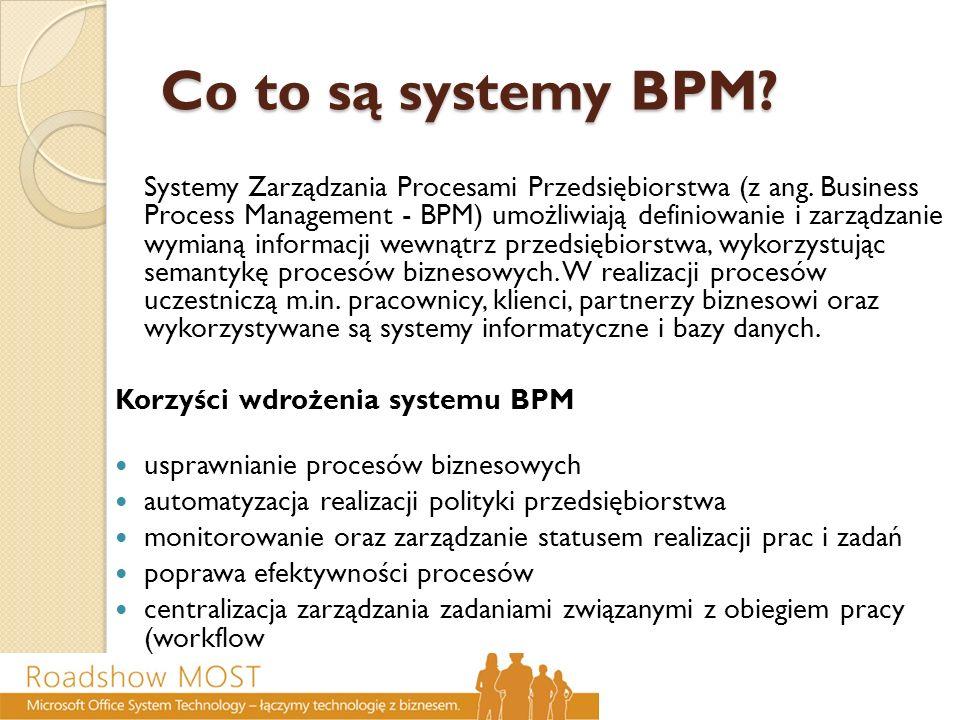 Co to są systemy BPM? Co to są systemy BPM? Systemy Zarządzania Procesami Przedsiębiorstwa (z ang. Business Process Management - BPM) umożliwiają defi