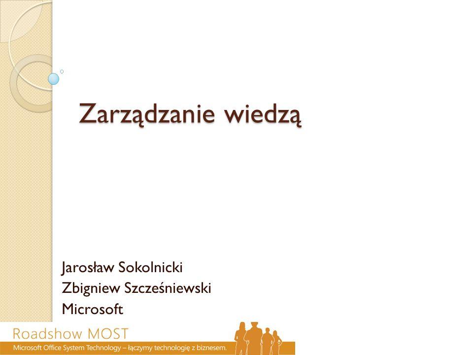 Zarządzanie wiedzą Jarosław Sokolnicki Zbigniew Szcześniewski Microsoft