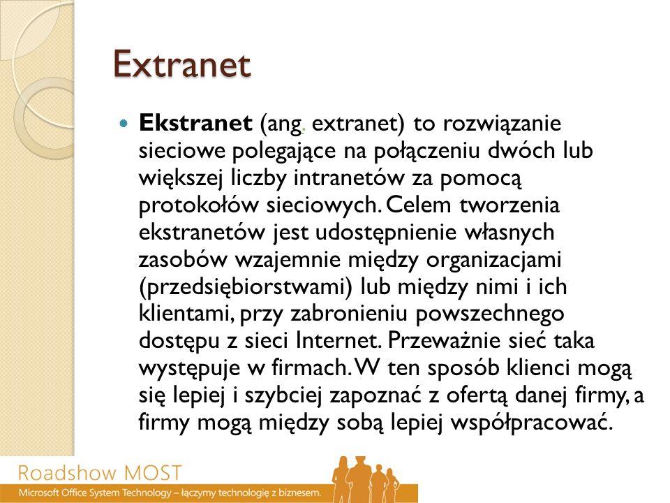 Extranet Ekstranet (ang. extranet) to rozwiązanie sieciowe polegające na połączeniu dwóch lub większej liczby intranetów za pomocą protokołów sieciowy