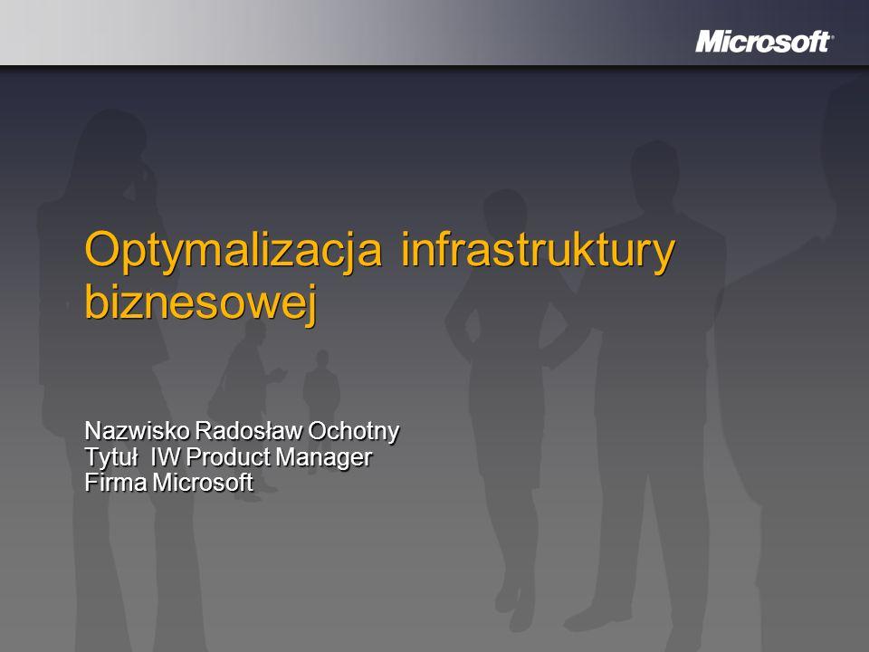 Optymalizacja infrastruktury biznesowej Nazwisko Radosław Ochotny Nazwisko Radosław Ochotny Tytuł IW Product Manager Firma Microsoft