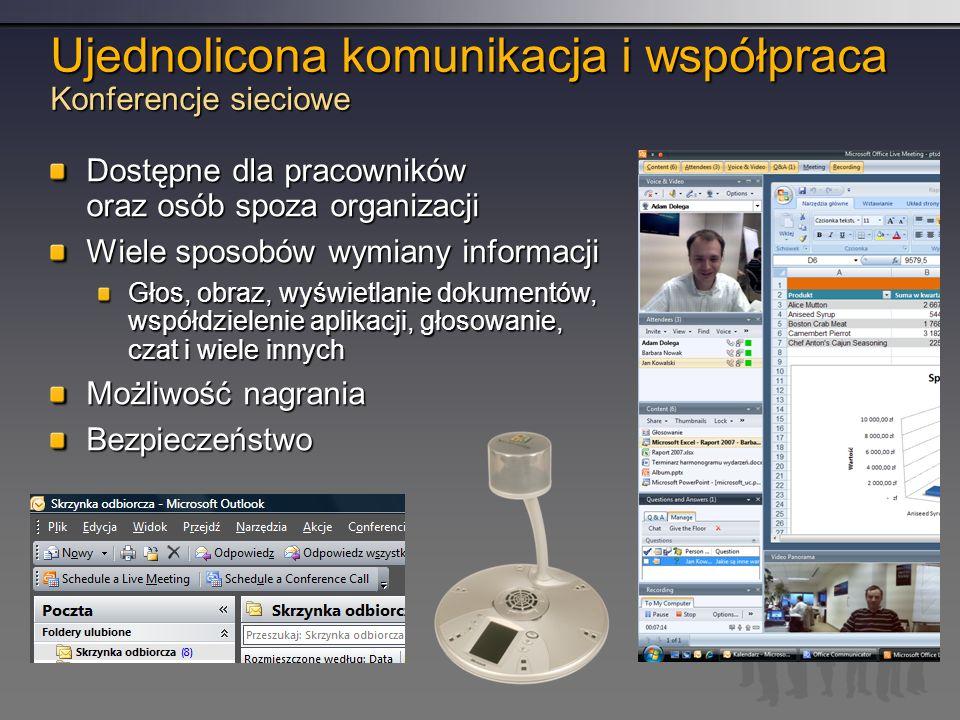 Ujednolicona komunikacja i współpraca Konferencje sieciowe Dostępne dla pracowników oraz osób spoza organizacji Wiele sposobów wymiany informacji Głos, obraz, wyświetlanie dokumentów, współdzielenie aplikacji, głosowanie, czat i wiele innych Możliwość nagrania Bezpieczeństwo