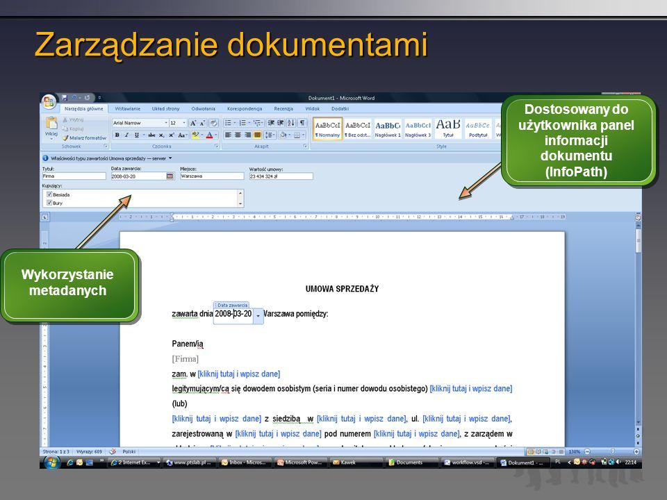 Wykorzystanie metadanych Dostosowany do użytkownika panel informacji dokumentu (InfoPath)