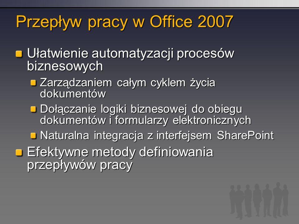 Przepływ pracy w Office 2007 Ułatwienie automatyzacji procesów biznesowych Zarządzaniem całym cyklem życia dokumentów Dołączanie logiki biznesowej do obiegu dokumentów i formularzy elektronicznych Naturalna integracja z interfejsem SharePoint Efektywne metody definiowania przepływów pracy