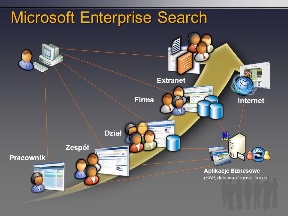 Microsoft Enterprise Search Zespół Dział Firma Extranet Internet Pracownik Aplikacje Biznesowe (SAP, data warehouse, inne)