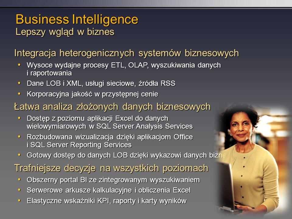 Business Intelligence Lepszy wgląd w biznes Integracja heterogenicznych systemów biznesowych Wysoce wydajne procesy ETL, OLAP, wyszukiwania danych i raportowania Wysoce wydajne procesy ETL, OLAP, wyszukiwania danych i raportowania Dane LOB i XML, usługi sieciowe, źródła RSS Dane LOB i XML, usługi sieciowe, źródła RSS Korporacyjna jakość w przystępnej cenie Korporacyjna jakość w przystępnej cenie Łatwa analiza złożonych danych biznesowych Dostęp z poziomu aplikacji Excel do danych wielowymiarowych w SQL Server Analysis Services Dostęp z poziomu aplikacji Excel do danych wielowymiarowych w SQL Server Analysis Services Rozbudowana wizualizacja dzięki aplikacjom Office i SQL Server Reporting Services Rozbudowana wizualizacja dzięki aplikacjom Office i SQL Server Reporting Services Gotowy dostęp do danych LOB dzięki wykazowi danych biznesowych Gotowy dostęp do danych LOB dzięki wykazowi danych biznesowych Trafniejsze decyzje na wszystkich poziomach Obszerny portal BI ze zintegrowanym wyszukiwaniem Obszerny portal BI ze zintegrowanym wyszukiwaniem Serwerowe arkusze kalkulacyjne i obliczenia Excel Serwerowe arkusze kalkulacyjne i obliczenia Excel Elastyczne wskaźniki KPI, raporty i karty wyników Elastyczne wskaźniki KPI, raporty i karty wyników