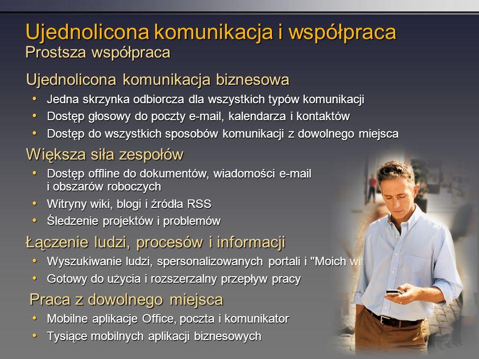 Ujednolicona komunikacja i współpraca Prostsza współpraca Ujednolicona komunikacja biznesowa Jedna skrzynka odbiorcza dla wszystkich typów komunikacji Jedna skrzynka odbiorcza dla wszystkich typów komunikacji Dostęp głosowy do poczty e-mail, kalendarza i kontaktów Dostęp głosowy do poczty e-mail, kalendarza i kontaktów Dostęp do wszystkich sposobów komunikacji z dowolnego miejsca Dostęp do wszystkich sposobów komunikacji z dowolnego miejsca Większa siła zespołów Dostęp offline do dokumentów, wiadomości e-mail i obszarów roboczych Dostęp offline do dokumentów, wiadomości e-mail i obszarów roboczych Witryny wiki, blogi i źródła RSS Witryny wiki, blogi i źródła RSS Śledzenie projektów i problemów Śledzenie projektów i problemów Łączenie ludzi, procesów i informacji Wyszukiwanie ludzi, spersonalizowanych portali i Moich witryn Wyszukiwanie ludzi, spersonalizowanych portali i Moich witryn Gotowy do użycia i rozszerzalny przepływ pracy Gotowy do użycia i rozszerzalny przepływ pracy Praca z dowolnego miejsca Mobilne aplikacje Office, poczta i komunikator Mobilne aplikacje Office, poczta i komunikator Tysiące mobilnych aplikacji biznesowych Tysiące mobilnych aplikacji biznesowych