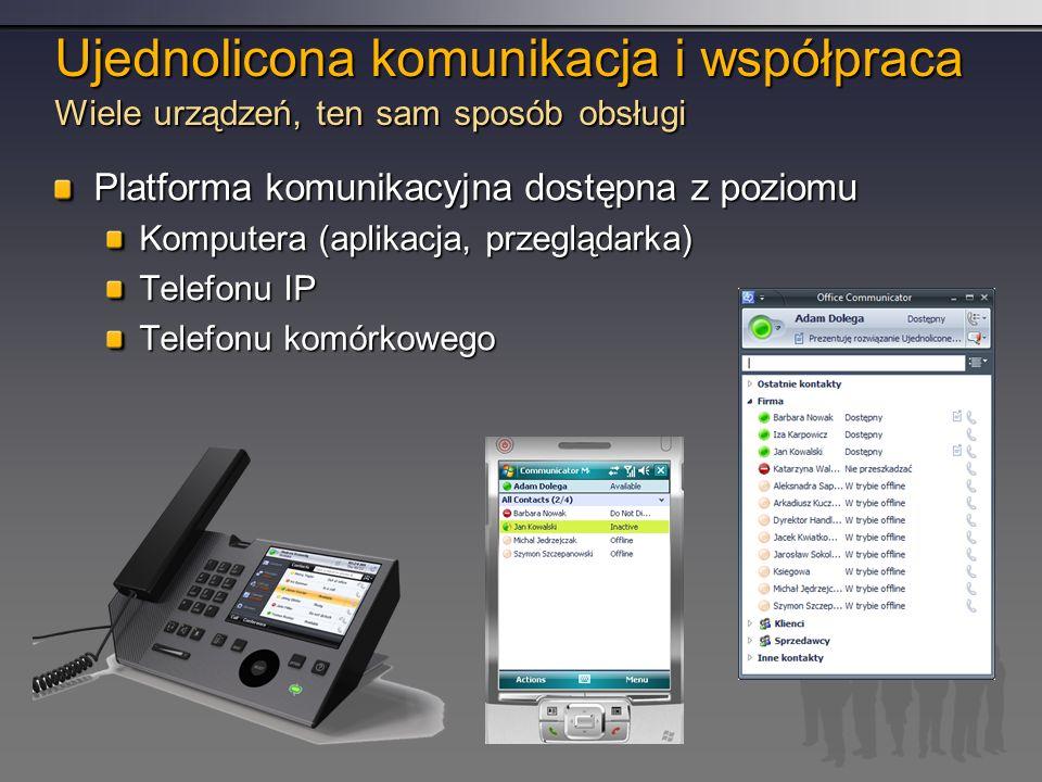 Ujednolicona komunikacja i współpraca Wiele urządzeń, ten sam sposób obsługi Platforma komunikacyjna dostępna z poziomu Komputera (aplikacja, przeglądarka) Telefonu IP Telefonu komórkowego
