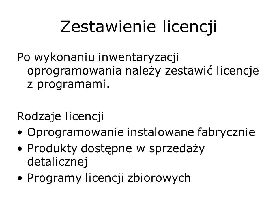 Zestawienie licencji Po wykonaniu inwentaryzacji oprogramowania należy zestawić licencje z programami.