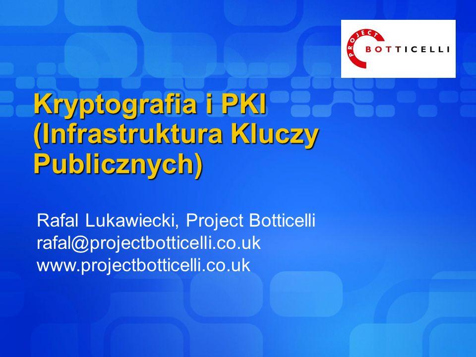 Kryptografia i PKI (Infrastruktura Kluczy Publicznych) Rafal Lukawiecki, Project Botticelli rafal@projectbotticelli.co.uk www.projectbotticelli.co.uk