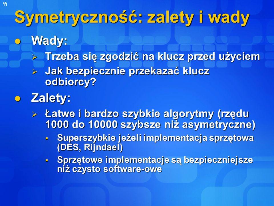 11 Symetryczność: zalety i wady Wady: Wady: Trzeba się zgodzić na klucz przed użyciem Trzeba się zgodzić na klucz przed użyciem Jak bezpiecznie przeka