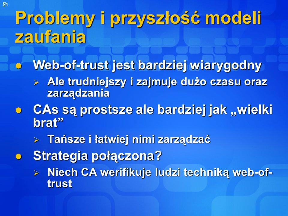 21 Problemy i przyszłość modeli zaufania Web-of-trust jest bardziej wiarygodny Web-of-trust jest bardziej wiarygodny Ale trudniejszy i zajmuje dużo cz