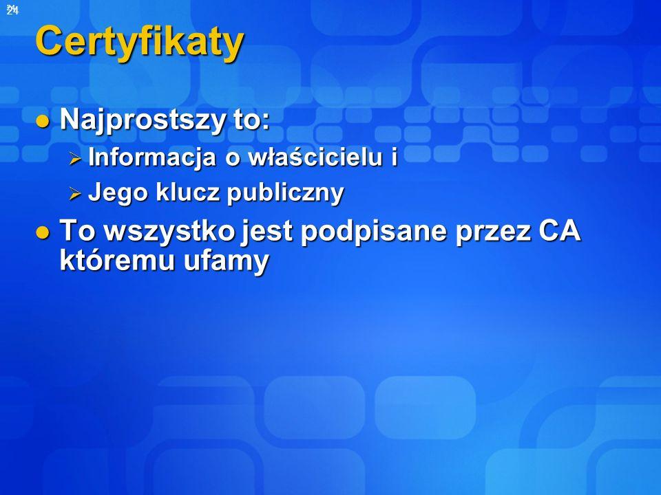 24 Certyfikaty Najprostszy to: Najprostszy to: Informacja o właścicielu i Informacja o właścicielu i Jego klucz publiczny Jego klucz publiczny To wszy