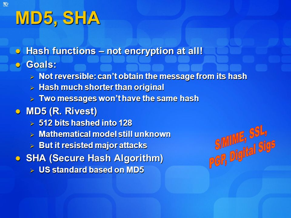 32 MD5, SHA Hash functions – not encryption at all.