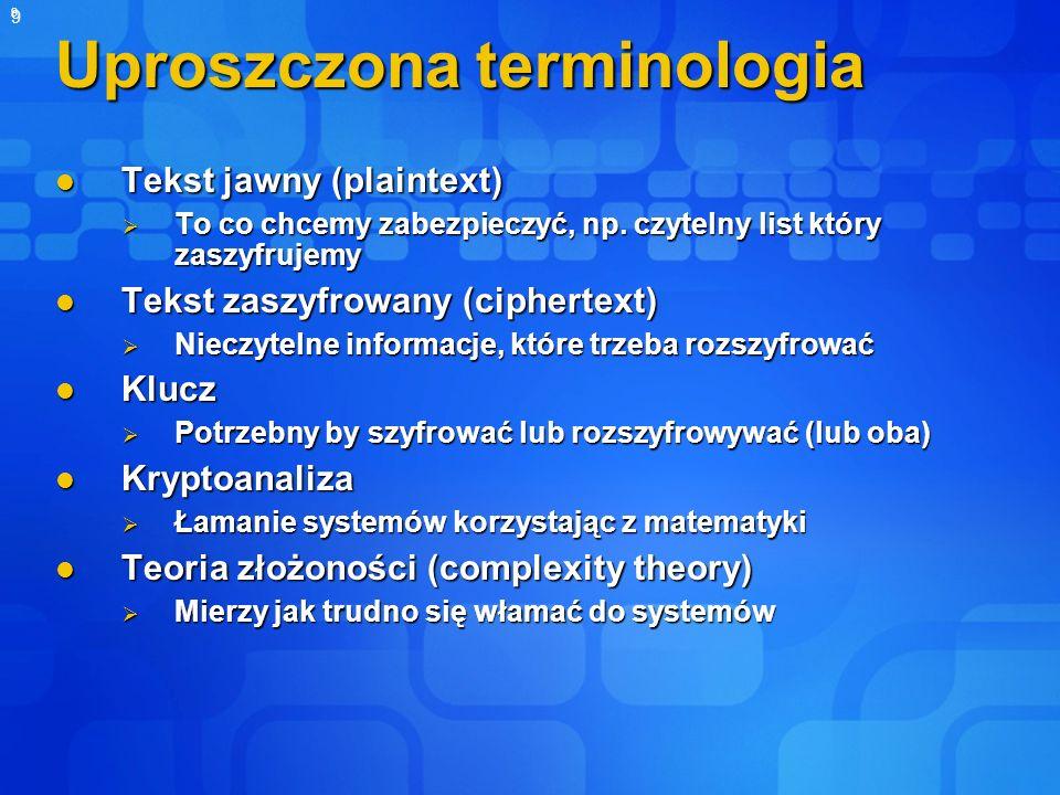 9 9 Uproszczona terminologia Tekst jawny (plaintext) Tekst jawny (plaintext) To co chcemy zabezpieczyć, np. czytelny list który zaszyfrujemy To co chc