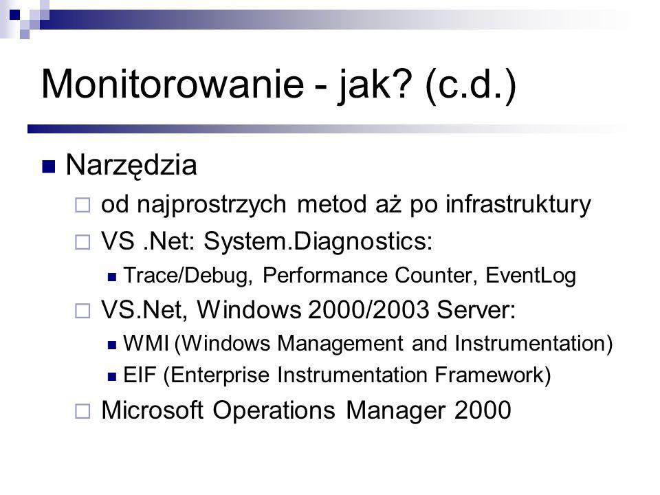 Monitorowanie - jak? (c.d.) Narzędzia od najprostrzych metod aż po infrastruktury VS.Net: System.Diagnostics: Trace/Debug, Performance Counter, EventL