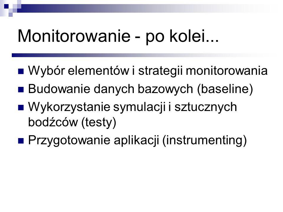 Monitorowanie - po kolei... Wybór elementów i strategii monitorowania Budowanie danych bazowych (baseline) Wykorzystanie symulacji i sztucznych bodźcó