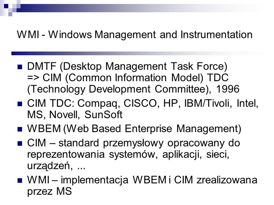 WMI - Windows Management and Instrumentation DMTF (Desktop Management Task Force) => CIM (Common Information Model) TDC (Technology Development Commit