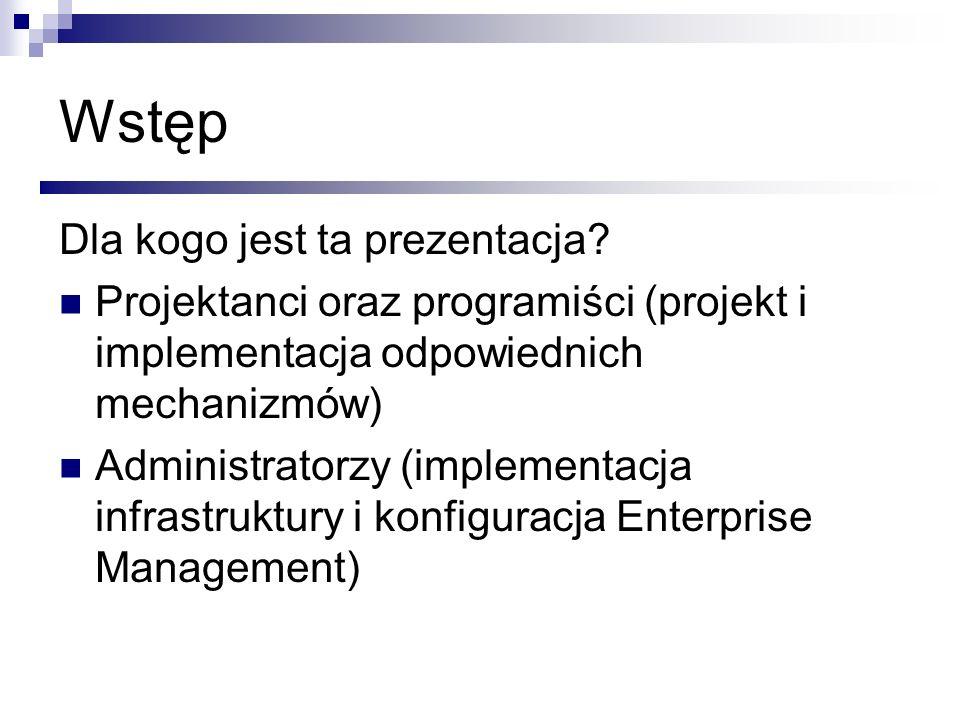 Dla kogo jest ta prezentacja? Projektanci oraz programiści (projekt i implementacja odpowiednich mechanizmów) Administratorzy (implementacja infrastru