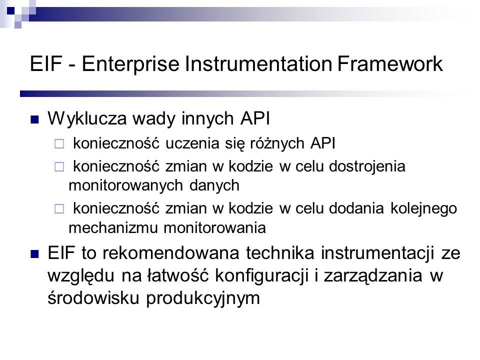 EIF - Enterprise Instrumentation Framework Wyklucza wady innych API konieczność uczenia się różnych API konieczność zmian w kodzie w celu dostrojenia