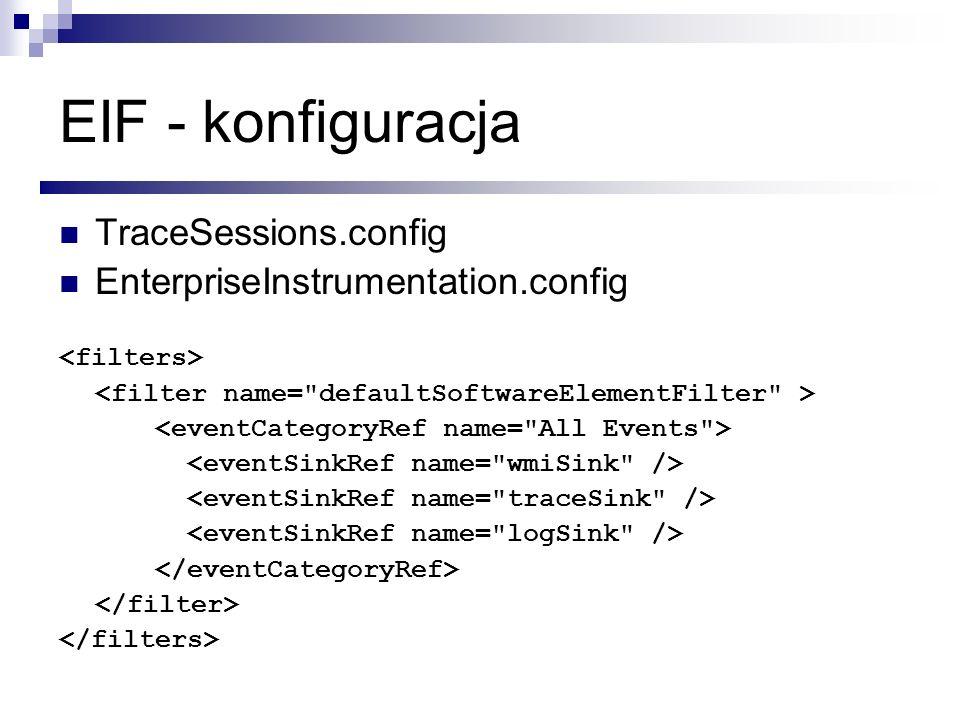 EIF - konfiguracja TraceSessions.config EnterpriseInstrumentation.config