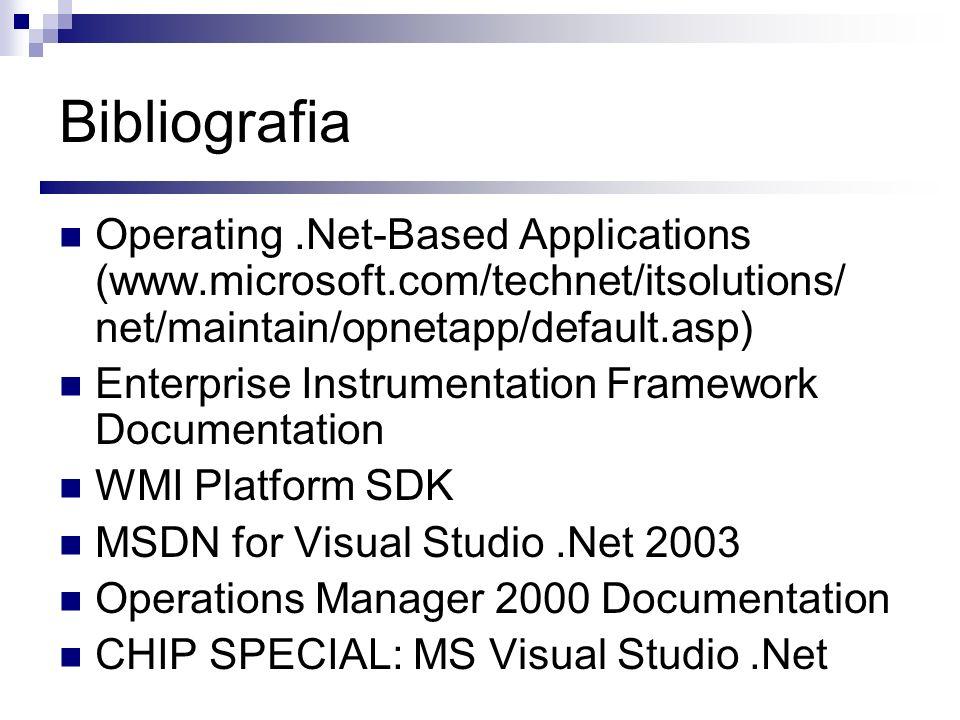 Bibliografia Operating.Net-Based Applications (www.microsoft.com/technet/itsolutions/ net/maintain/opnetapp/default.asp) Enterprise Instrumentation Fr