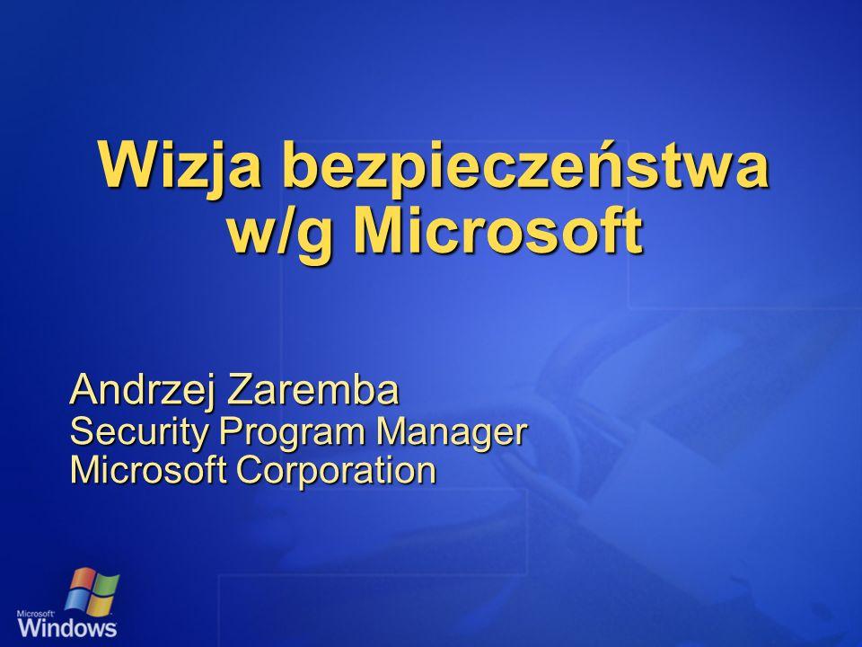 Wizja bezpieczeństwa w/g Microsoft Andrzej Zaremba Security Program Manager Microsoft Corporation